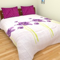 Bichauna By Portico Cotton Linen Blend Floral, Printed King Sized Double Bedsheet 1 King Size Bed Sheet With 2 Pillow Covers, Purple, White, Green, Pink