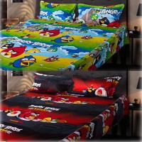 ECraftIndia Cotton, Satin Graphic Double Bedsheet (2 Double Bedsheet + 4 Pillow Covers, Multicolor)