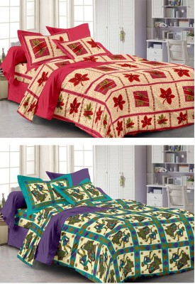 Story @ Home Cotton Printed Double King Bedsheet Set Of 2 Single Bedsheet With 2 Pillow Cover, Multicolour