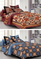 Story @ Home Cotton Abstract Single Bedsheet Set Of 2 Single Bedsheet With 2 Pillow Cover, Multicolor
