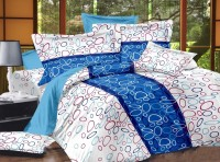 Luxe Cotton Abstract King Bedsheet Bedsheet, 2 Pillow Covers, Blue