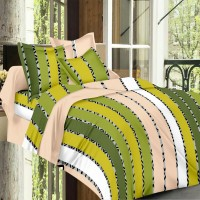 Always Plus Cotton Striped Double Bedsheet 1 Bed Sheet, 2 Pillow Cover, Green