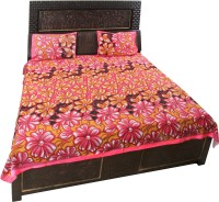 K2M2 Cotton Floral Double Bedsheet (1 Double Bedsheet, 2 Pillow Covers)