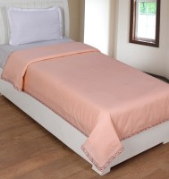 BSB Trendz Cotton Plain Single Bedsheet 1 Top Sheet, Peach