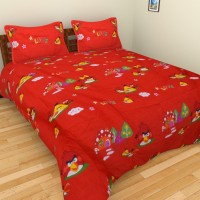 Ruhi Home Furnishing Polycotton Cartoon Double Bedsheet 1 Double Bedsheet, 2 Pillow Covers, Red