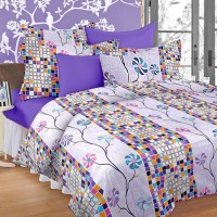 Cortina Satin Embroidered Double Bedsheet 1 Satin Double Bedsheet, 2 Pillow Cover, Multicolor