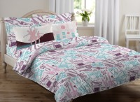 Royal Home Cotton Abstract Queen Sized Double Bedsheet 1 Double Bed Sheet, 2 Pillow Cover, Light Blue