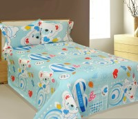 AJ Home Cotton Cartoon Double Bedsheet 1 Bedsheet, 2 Pillow Cover, Blue