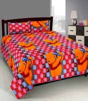 Optimistic Home Furnishing Cotton Cartoon Single Bedsheet 1 Bed Sheet 2 Pillow Covers, MULTICOLOR