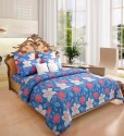 Home Candy Attractive Blue Cotton Collection Flat Double Bedsheet