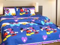 Swastik Cotton Floral Double Bedsheet 1 Multicolour Cotton Bedsheet With 2 Pillow Cover, Multicolour