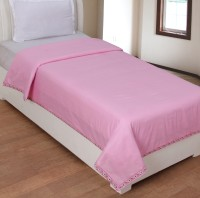 BSB Trendz Cotton Plain Single Bedsheet 1 Top Sheet, Pink