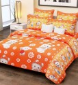 Home Candy Home Candy 100% Cotton Kids Orange Floral Double Bed Sheet With 2 Pillow Covers Cotton Collection Flat Double Bedsheet