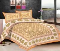 Viskar Fab Tex Cotton Printed Double Bedsheet Rajasthani Cotton Printed Double Bed Sheet With 2 Pillow Covers, Orange Brown