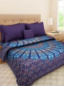 SONAL TEXTILES Cotton Printed King sized Double Bedsheet