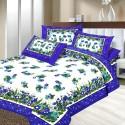 Aapno Rajasthan Pure Cotton Floral Print Blue Double - Set Rapid Print Flat Double Bedsheet
