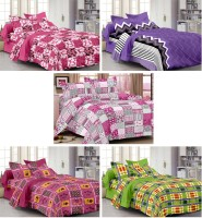 Story @ Home Cotton Floral Double Bedsheet Set Of 5 Double Bedsheet With 10 Pillow Cover, Multicolor