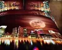 Valtellina Valtellina Valtellina Moon City Lights 4D Print Double Bed Sheet Printed Flat Double Bedsheet