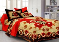 Story @ Home Cotton Floral Single Bedsheet 1 Single Bed Sheet With 1 Pillow Cover, Red