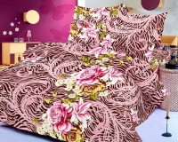 Octane Cotton Animal Double Bedsheet 1 Double Bedsheet, 2 Pillow Covers, Pink