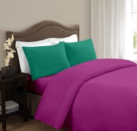 Ahmedabad Cotton Cotton Solid Double Bedsheet 1 Double Bedsheet And 2 Pillow Covers, Purple, Green