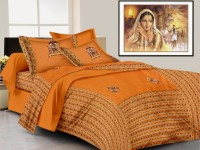 Lali Prints Cotton Embroidered King Sized Double Bedsheet 1 Bedsheet, 2 Pillow Covers, Orange