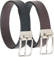Vermello Men Formal Brown, Black Genuine Leather Reversible Belt Black, Brown - BELE5KYST2DY8DZT