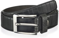 Teakwood Men Black Genuine Leather Belt Black