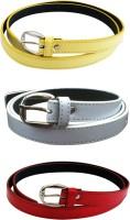 Verceys Girls, Women Casual Yellow, White, Red Artificial Leather Belt Yellow, White, Red