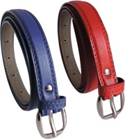 Elligator Women Casual, Formal, Party Blue, Red Artificial Leather Belt Blue-04