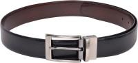 Scarleti Men Casual Black Genuine Leather Reversible Belt (Black)
