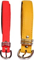 Swan Collection Girls, Women Casual, Formal, Evening Yellow, Pink Artificial Leather Belt Yellow & Pink 04