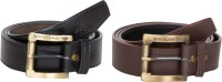 Mdr Collections Men Casual Grey, Black Artificial Leather Belt Multicolor