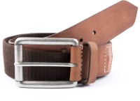 Leather Hub Men Casual Brown Genuine Leather, Canvas Belt BROWN