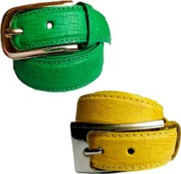 WHOLESOME DEAL Women Formal Multicolor Synthetic Belt Green And Yellow