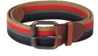 Kaizu Men Casual Multicolor Canvas, Genuine Leather Belt BRN MULTI