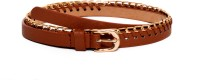 Cruxhunter Girls Silver, Black, Brown, Gold Artificial Leather Belt Brown