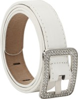 Freshka Women Party White Artificial Leather Belt Stylish White