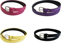 Verceys Girls, Women Casual Pink, Purple, Yellow, Black Artificial Leather Belt Pink, Purple, Yellow, Black