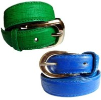 WHOLESOME DEAL Women Formal Multicolor Synthetic Belt Blue And Green