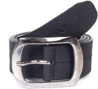 Solzo Men Formal Black Genuine Leather Belt Black Solid