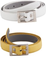SRS Women Casual White, Yellow Artificial Leather Belt White-Yellow-20