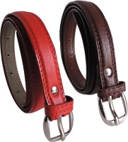 Elligator Women Casual, Formal, Party Red, Brown Artificial Leather Belt Red-02