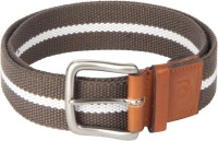 Kaizu Men Casual Brown Canvas, Genuine Leather Belt BRN