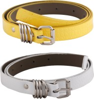 SRS Women Casual White, Yellow Artificial Leather Belt White-Yellow-015