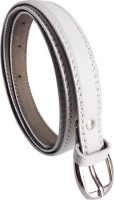 Elligator Women Casual, Formal, Party White Artificial Leather Belt White-01
