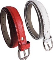 Elligator Women Casual, Formal, Party Red, White Artificial Leather Belt Red-03