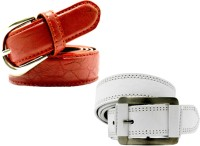 WHOLESOME DEAL Women Casual Multicolor Synthetic Belt Red And White