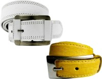 WHOLESOME DEAL Women Casual Multicolor Synthetic Belt Yellow And White