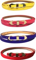 Verceys Women Casual Yellow, Pink, Purple, Red Artificial Leather Belt Multicolor
